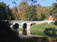 Pont Saint-Pierre ou pont de Grégy - English: St Pierre bridge and its reversed image on the river Yerre in Evry Gregy sur Yerre