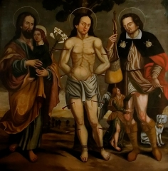 Eglise paroissiale Saint-Barthélémy - English: From left to right : Saint Joseph, Saint Sebastien and Saint Roch represented with his dog. Painting from the XVIe century exposed in the church of Vaugines (France). For praying against Bubonic plague