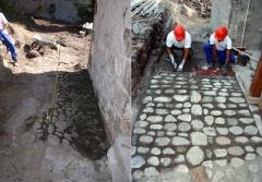 Lazarets de La Grande Chaloupe -  Calade, près de la varangue du médecin des Lazarets avant et en cours de restauration.