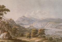 Ancienne abbaye de Saint-Pons, actuellement hôpital Pasteur -  Gravure acquarellée représentant la vallée du Paillon à Nice avec l'abbaye bénédictine de Saint-Pons et le monastère franciscain de Cimiez.