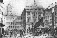 Bourse du Travail -  L'Hôtel de Ville ou palais communal de la place Saint-François, lithographie de Piccordi (signature en bas à droite) en 1840, aquarellée dans l'ouvrage de J.Saqui.