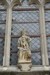 Eglise - Deutsch: Katholische Kirche St-Pierre-St-Paul in Dampierre im Département Aube (Champagne-Ardenne/Frankreich), Skulptur am Portal, Darstellung: Gnadenstuhl