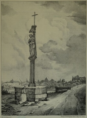 Croix de carrefour, à l'extrémité du pont - Français:   dessin dans le livre de Arnaud.