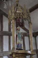 Eglise - Deutsch: Katholische Kirche Saint-Jacques-et-Saint-Philippe in Lentilles im Département Aube (Champagne-Ardenne/Frankreich), Prozessionsstange mit Heiligenfigur aus dem 19. Jahrhundert