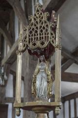 Eglise - Deutsch: Katholische Kirche Saint-Jacques-et-Saint-Philippe in Lentilles im Département Aube (Champagne-Ardenne/Frankreich), Prozessionsstange mit Marienfigur aus dem 19. Jahrhundert