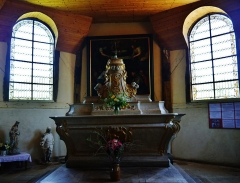 Eglise - Deutsch: Hauptaltar der Kirche St. Quentin, Mathaux, Département Aube, Region Champagne-Ardenne (heute Großer Osten), Frankreich