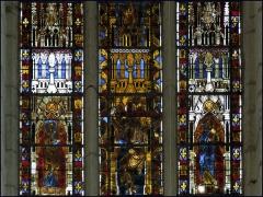 Eglise Saint-Pierre -  St. Pierre es Liens, Mussy-sur-Seine, France.Stained glass window, beginning of the 14th century.