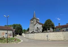 Eglise Saint-Maurice - Nederlands: Rouvres-les-Vignes (departement Aube, Frankrijk): de Sint-Mauritiuskerk en de kerkhofmuur