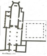 Abbaye Saint-Martin-ès-Aires - Français:   plan de l\'église et du cloitre