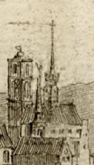 Abbaye Saint-Martin-ès-Aires - Français:   Église_de_l\'abbaye_st_Martin_Troyes avecses deux clochers, tour et sur la croisée des transepts.