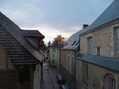 Ancien Evêché - Français:   La rue Linard-Gonthier vue depuis le musée d\'art moderne. Sur la gauche , l\'hôtel Le Champ des Oiseaux, à droite, des bâtiments du musée.