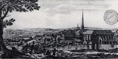 Ancienne abbaye de Clairvaux - Français:   Abbaye de Clairvaux sur une gravure du XVIIIe
