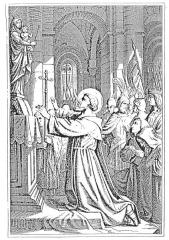Ancienne abbaye de Clairvaux -  Engraving of Saint Bernard of Clairvaux
