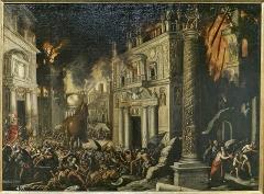 Immeuble - Español: Los troyanos engañan a los griegos con el Caballo de Troya. Óleo sobre lienzo de  Francisco Collantes, primera mitad del XVII, para el Palacio del Buen Retiro.