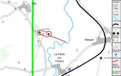 Fortifications de la ligne Maginot dites Ouvrage de la Ferté (également sur commune de Villy) - Français:   carte de l\'ouvrage de La Ferté dans son environnement. Cette carte a été construite à partir d\'une autre carte Commons à laquelle j\'ai rajouté une légende. Cette autre carte est: Ouvrage La Ferté carte.png