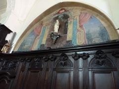 Eglise Saint-Rémi de Laval-Dieu - Français:   Abbaye Laval Dieu à Monthermé (France), Statue de la Vierge avec en arrière plan un motif peint sur bois