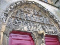 Eglise abbatiale Notre-Dame - Portail occidental détail Abbatiale Mouzon Ardennes France