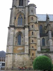 Eglise abbatiale Notre-Dame - Tour accolee au portail Abbatiale Mouzon Ardennes France
