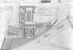 Ancienne manufacture royale de draps dite le Dijonval - Français:   Le_dijonval_et_l\'hospice_sur_le_plan_Bacot_de 1832.