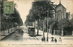 Synagogue - Français:   Carte postale ancienne éditée par LL, n°18:  SEDAN: La synagogue et l\'avenue Philipoteaux