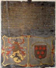 Eglise - Français:   dalle funéraire de Regnaud d\'Argy et de sa femme Françoise d\'Escauvevelle .