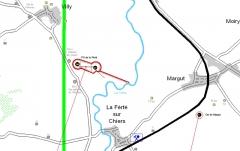 Fortifications de la ligne Maginot dites Ouvrages de la Ferté - Français:   Plan de situation de l\'ouvrage de La Ferté
