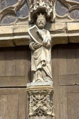 Eglise Saint-Trésain - English: King David (portal of St-Trésain church in Avenay-Val-d'Or, Marne, France).