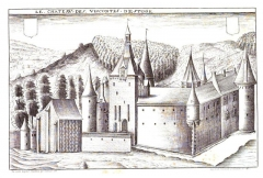 Château - English: Etching by Claude Chastillon (+ 1616), reproduced by a 19th century engraver: The Castle of Etoges (Dép. Marne, Champagne-Ardenne) in its earlier state, before the rebuildung executed in the 1680s under Antoine Saladin d'Anglure de Savigny