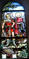 Eglise Notre-Dame-du-Soldat - Français:   vitrail représentant Attila et St Alpin, église de Hans.