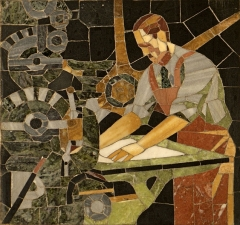 Bibliothèque Carnégie - English: Mosaic in the entrance hall of the Carnegie Library in Reims, France (Henri Sauvage)
