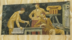 Bibliothèque Carnégie - English: Detail of the mosaics in the entrance hall of the Carnegie Library in Rheims, France