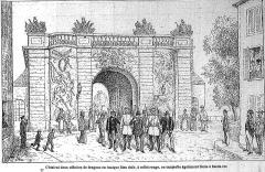 Porte du Pont - Français:   Parlementaires prussiens à vitry pour la redition de la ville.