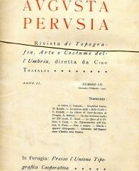 """Enceinte protohistorique dite """"Camp des Louvières"""" - Italiano: Copertina del primo numero della rivista Augusta Perusia"""