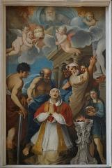 Collège - Français:   intérieur de la chapelle des Jésuites de Chaumont: toile du retable du maître-autel le martyre du pape saint Luce.