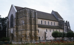 Eglise - Montier-en-Der: abbatiale en 1972, avant la reconstruction du clocher.