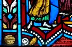 Eglise - Deutsch: Katholische Pfarrkirche Saint-Rémy, ehemalige Abteikirche der Abtei Montier-en-Der in Montier-en-Der im Département Haute-Marne (Champagne-Ardenne/Frankreich), Bleiglasfenster mit der Signatur: STEINHEIL 1860 (Louis Charles Auguste Steinheil)