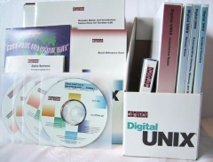Eglise de Nully - English: Digital Unix distribution media for Alpha machines, showing manuals, CDROMs, etc.