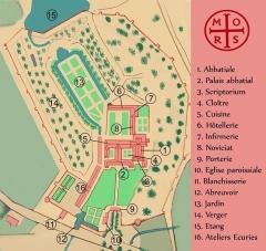 Abbaye de Morimond (ruines) -  plan de l'abbaye de MORIMOND d'aprés une planche de 1789