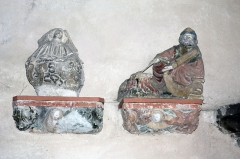Eglise - English:  Angel; Preparation of a breakfeast. Items recovered during the various restorations.