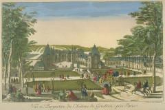 Domaine du château de Grosbois - Deutsch: Kolorierte Zeichnung des Schlosses Grobois
