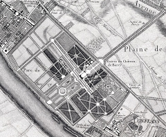 Château de Bercy - English: Château de Bercy, detail from the 1731 Roussel map of Paris and its environs