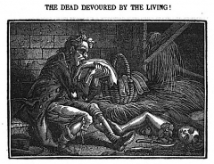 Ancien hospice de Bicêtre - English: The dead devoured by the living ! [Case of Antoine Langulet, mad, found in Paris around 1820 and treated in Bicêtre's Asylum.]