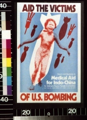 Allée couverte - English: Title: Aid the victims of U.S. bombing send contributions to Medical Aid for Indo-China, c/o Vietnam Peace Parade Committee. Abstract: 1 print: color; (poster format)