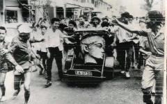 Allée couverte - English: ARVN coup 1963 against Diem, head statue look like Madame Nhu