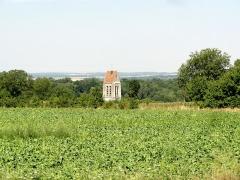 Eglise Saint-Denis -  Clocher, vue de loin depuis le plateau.