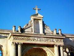 Eglise Saint-Christophe - Français:   Partie supérieure du portail Renaissance nord.
