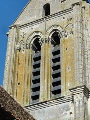 Eglise Saint-Clair - Français:   Détail de la face ouest de l\'étage de beffroi du clocher.