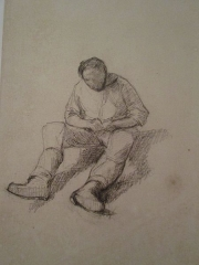 Hôtel d'Estouteville - Gustave Caillebotte (1848-1894), Étude pour les Raboteurs de parquet (homme assis), crayon et mine de plomb sur papier, 43,5 x 30,8, musée Tavet-Delacour (Pontoise).