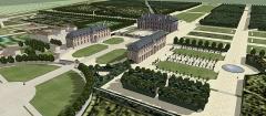 Château des Caramans - Français:   Vue cavalière sur le domaine de Roissy, XVIIIe siècle.