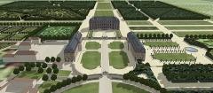 Château des Caramans - Français:   Vue cavalière du château de Roissy depuis l\'entrée. XVIIIe siècle.